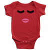 Lipstick Kiss - Lips & Lashes Baby Onesie - 9 Colors AVAILABLE Size: Newborn - 24M - MADE IN THE USA