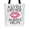 A Little Lipstick Always Helps Canvas Tote Shopping Bag - Lips Color: PINK/GOLD/RED Kiss Print - MADE IN THE USA