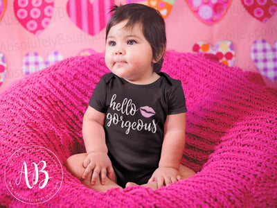 Hello Gorgeous Lips - Lipstick Kiss - Baby Onesie - 9 Colors AVAILABLE Size: Newborn - 24M - MADE IN THE USA