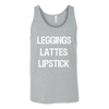 LEGGINGS.LATTES.LIPSTICK Unisex Tank Top Brand:Canvas 4 colors available PLUS Size S-2XL MADE IN THE USA