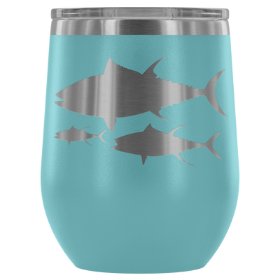 School of Tuna Wine Tumbler - 12 oz Stemless Wine Tumbler | Etched / Engraved Stainless Steel Mug Hot/Cold Cup - 12 Colors Available