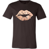 Lip Print Lipstick Kiss - Ladies V-neck Tee OR Unisex O-neck for Women T-shirt - Rose Gold Lips - 9 colors available PLUS Size S-4XL MADE IN THE USA