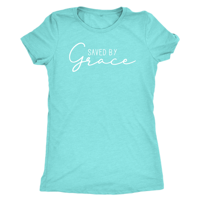 Saved by Grace - O-neck Christian Women TriBlend T-shirt Tee - PLUS Size S-2XL MADE IN THE USA