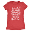 she is clothed in strength and dignity - O-neck Women TriBlend Bible T-shirt Christian Tee - 5 colors available PLUS Size S-2XL MADE IN THE USA