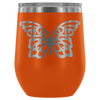 Butterfly - 12 oz Stemless Wine Tumbler | Etched / Engraved Stainless Steel Mug Hot/Cold Cup - 12 Colors Available
