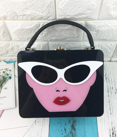 Fashion Lady Glasses Acrylic Box Purse Woman Messenger Tote - 3 Colors