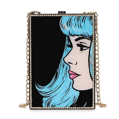 Fashion Lady Diamond Acrylic Bling Box Purse Woman Messenger Tote - 3 Styles