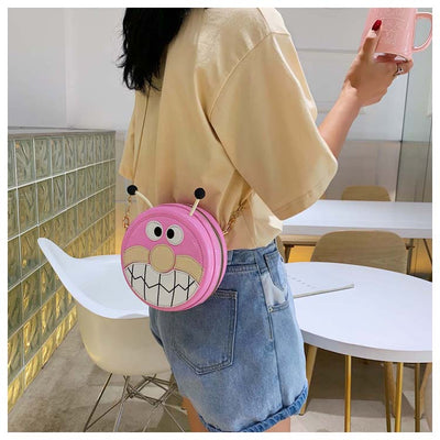 Cartoon Monster Faux Leather Crossbody Bag Purse Pouch