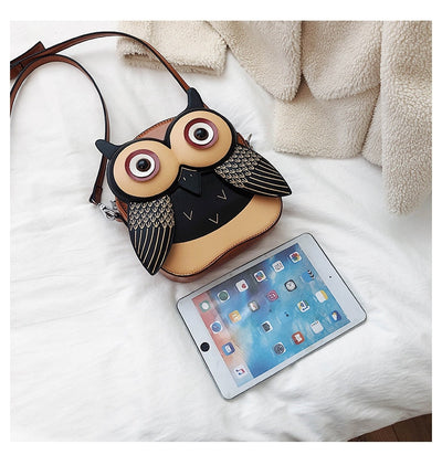 Cartoon Animal Purse Faux Leather Owl Dog Hippo