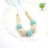 Infant Teething Mint teal cream crochet beads Teether Jewelry necklace for Baby