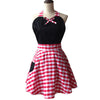 Picnic Plaid Kitchen Cooking Apron - BLACK or RED