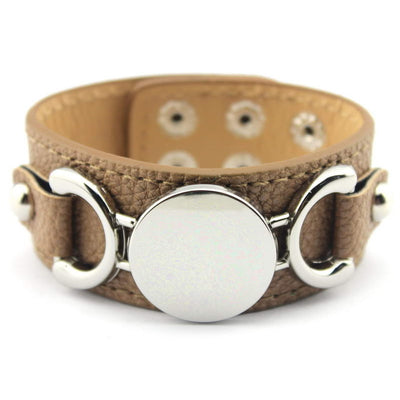 Faux Leather Cuff Bracelet w/Silver or Gold disc Jewelry for Women or Men 9 Colors available