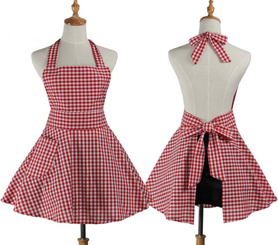 Gingham Plaid Kitchen Cooking Apron - BLACK, RED or PINK