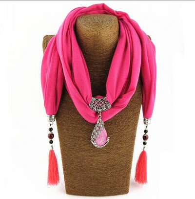 Neckoscarf Jewelry Drop Pendant Peacock Charm Necklace Boho Scarf Women 6 colors Available