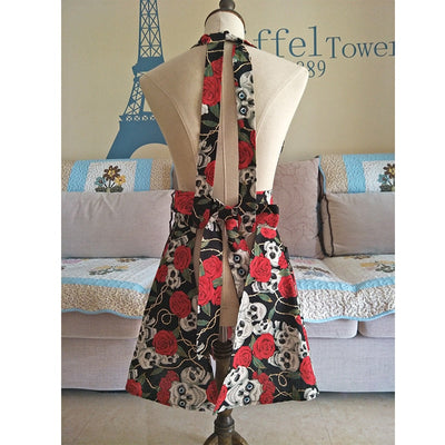 Black Skull Rose Kitchen Apron