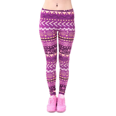 Purple Tribal Feminine Print - Super Soft Skinny Leggings - One size