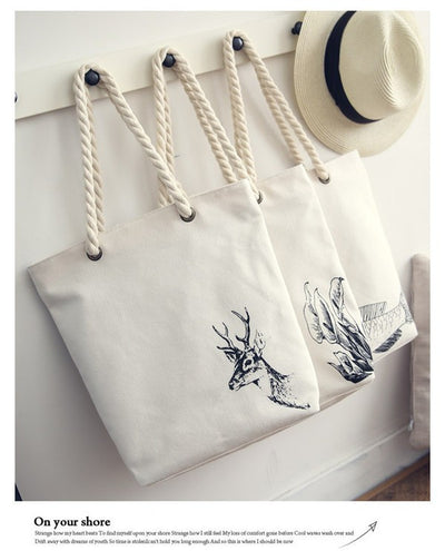 Oh Deer Canvas Tote with Rope Handles Great Casual Beach Bag or Hunters Lovers Travel Tote