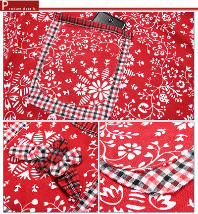 Country Girl Bandana & Plaid Patchwork Print Utility Kitchen Cooking Apron with Pockets BLUE or RED