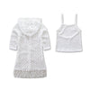 Mommy & Me Boho Style Cutout Lace Cardigan Kimono with Tassels & Tank Top Size S-2XL | Child 3T-7youth