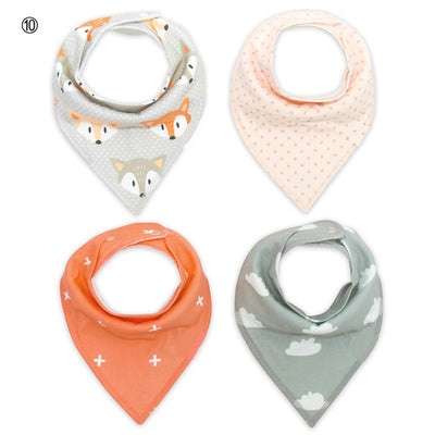 Baby Bandana Drool Bibs - Unisex 4 pc SET /Pack Gift Set for Drooling and Toddler Teething - 100% Organic Cotton - 17 sets available