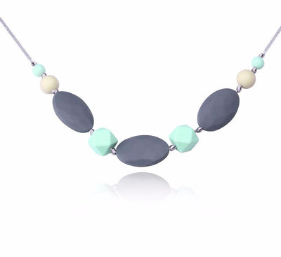 Infant Teething Necklace Jewelry for Mom Multicolor Beads & Oval Silicone Food Grade Baby Nursing Teether