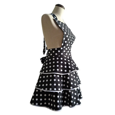 Retro Ruffles & Polka Dot Print Kitchen Apron