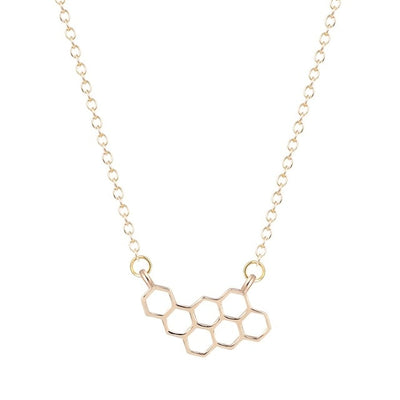 Dainty Honeycomb Beehive Necklace Gold or Silver