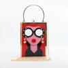 Fashion Lady Acrylic Box Purse Woman Sunglasses & Earrings - 3 Colors