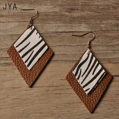 Genuine Leather Triangle Leopard Statement Earrings