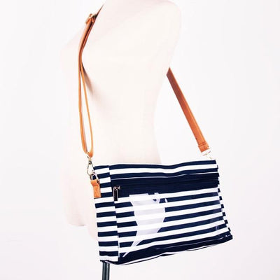 Messenger Display Bag Canvas Product Advertising Direct Sales Wow Display Shoulder Tote Bag - Crossbody Clutch - Navy Stripe