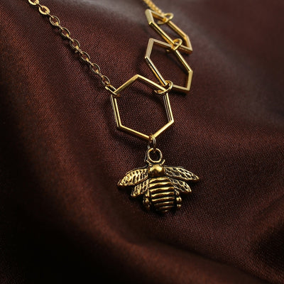 Gold Tone Antique Honeycomb Bee Necklace
