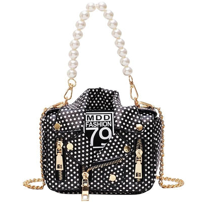 Polka Dot Pearl Studded Faux Leather Jacket Purse - 2 Colors