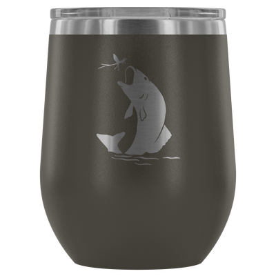 Bass Fish - 12 oz Stemless Wine Tumbler | Etched / Engraved Stainless Steel Mug Hot/Cold Cup - 12 Colors Available - Great Gift for Men too