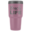 Beach Life 30 oz Travel Tumbler | Etched / Engraved Stainless Steel Mug Hot/Cold Cup - 12 Colors Available
