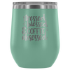 Stressed Blessed Coffee Obsessed - 12 oz Stemless Wine Tumbler | Etched / Engraved Stainless Steel Mug Hot/Cold Cup - 12 Colors Available