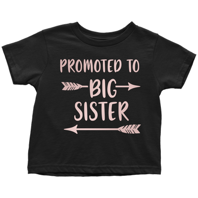 Promoted to BIG SISTER (pink rose) Infant Baby Tee - Toddler T-Shirt - 7 colors - Size 6M-6T - MADE IN THE USA