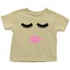 Lipstick Kiss - Lips & Lashes - Toddler T-Shirt - Baby Tee - 10 colors - Size 2T-6T - MADE IN THE USA