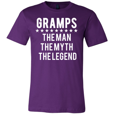 GRAMPS - Man|Myth|Legend - Tee Mens T-shirt - Canvas - 13 colors available PLUS Size S-3XL MADE IN THE USA