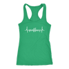Coffee Heartbeat - Ladies Racerback Tank Top Women - 5 colors available - PLUS Size XS-2XL MADE IN THE USA