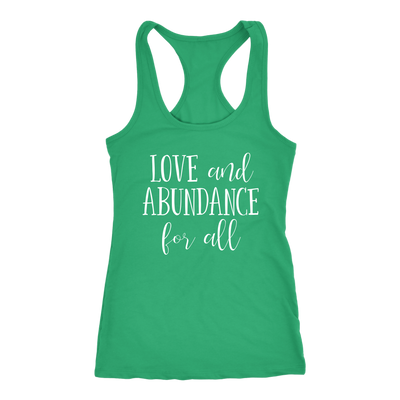 Love and Abundance for all - Ladies Racerback LOA Tank Top Women - 5 colors available - PLUS Size XS-2XL MADE IN THE USA