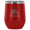 My Blood Type is Coffee - 12 oz Stemless Wine Tumbler | Etched / Engraved Stainless Steel Mug Hot/Cold Cup - 12 Colors Available