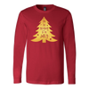 Tis the Season to be Jolly - Gold Christmas Tree - Canvas Tee LONG SLEEVE T-shirt - 7 Colors AVAILABLE Plus Size: S-2XL - MADE IN THE USA