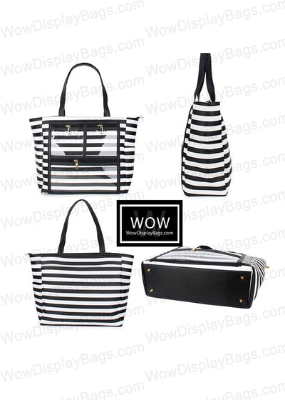 Wow Display Bag - Waterproof Vegan Leather Product Advertising Direct Sales Presentation Tote Bag - Black & White