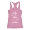WIFE MOM TEACHER Arrows - Ladies Racerback Tank Top Women - 13 colors available - PLUS Size XS-2XL MADE IN THE USA