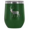 Deer - 12 oz Stemless Wine Tumbler | Etched / Engraved Stainless Steel Mug Hot/Cold Cup - 12 Colors Available - Great Gift for Men too