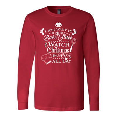 Bake Stuff & Watch Christmas Movies Canvas Tee LONG SLEEVE T-shirt - 5 Colors AVAILABLE Plus Size: S-2XL - MADE IN THE USA