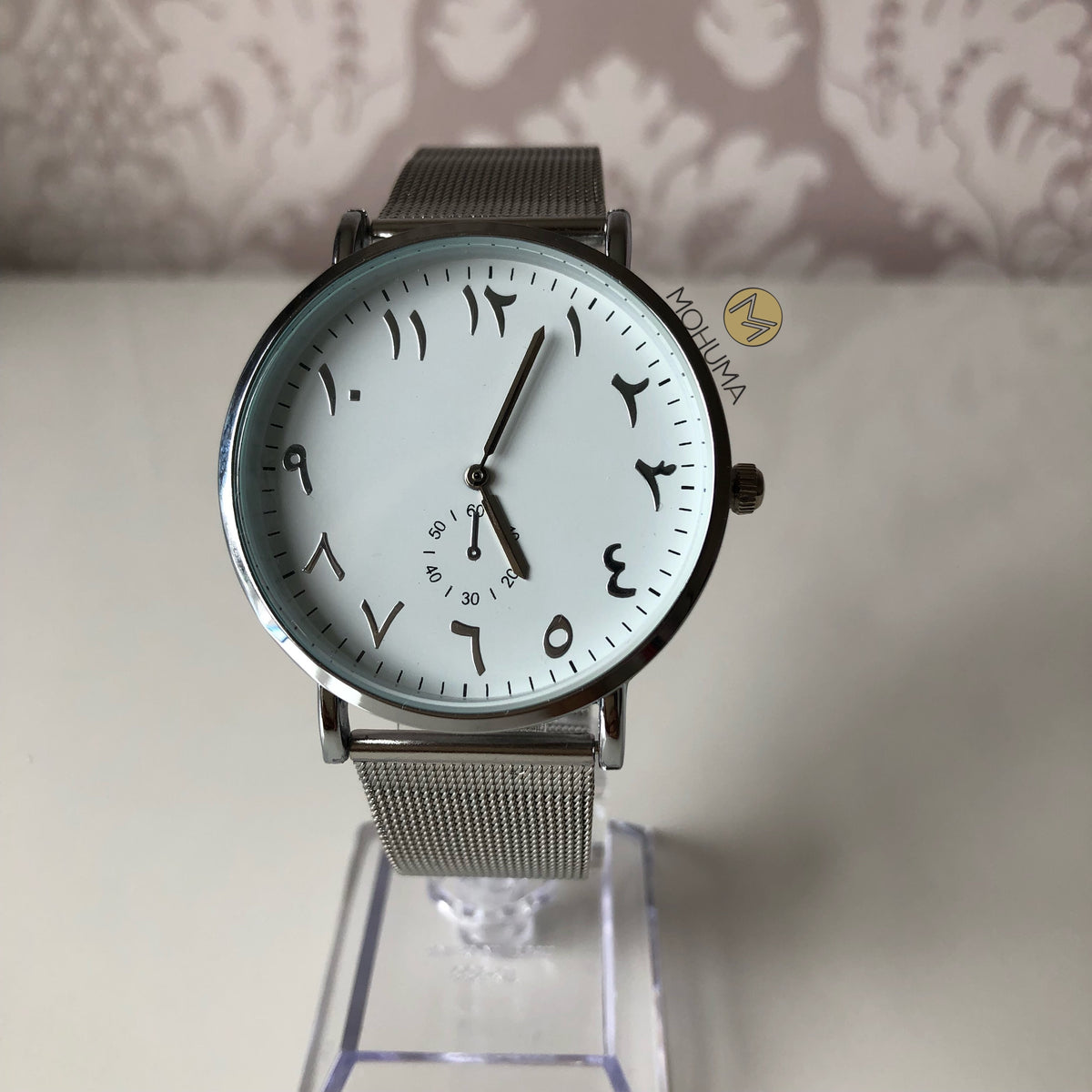 Arabic Numeral Mesh Watch | Silver White - Mohuma Modesty House