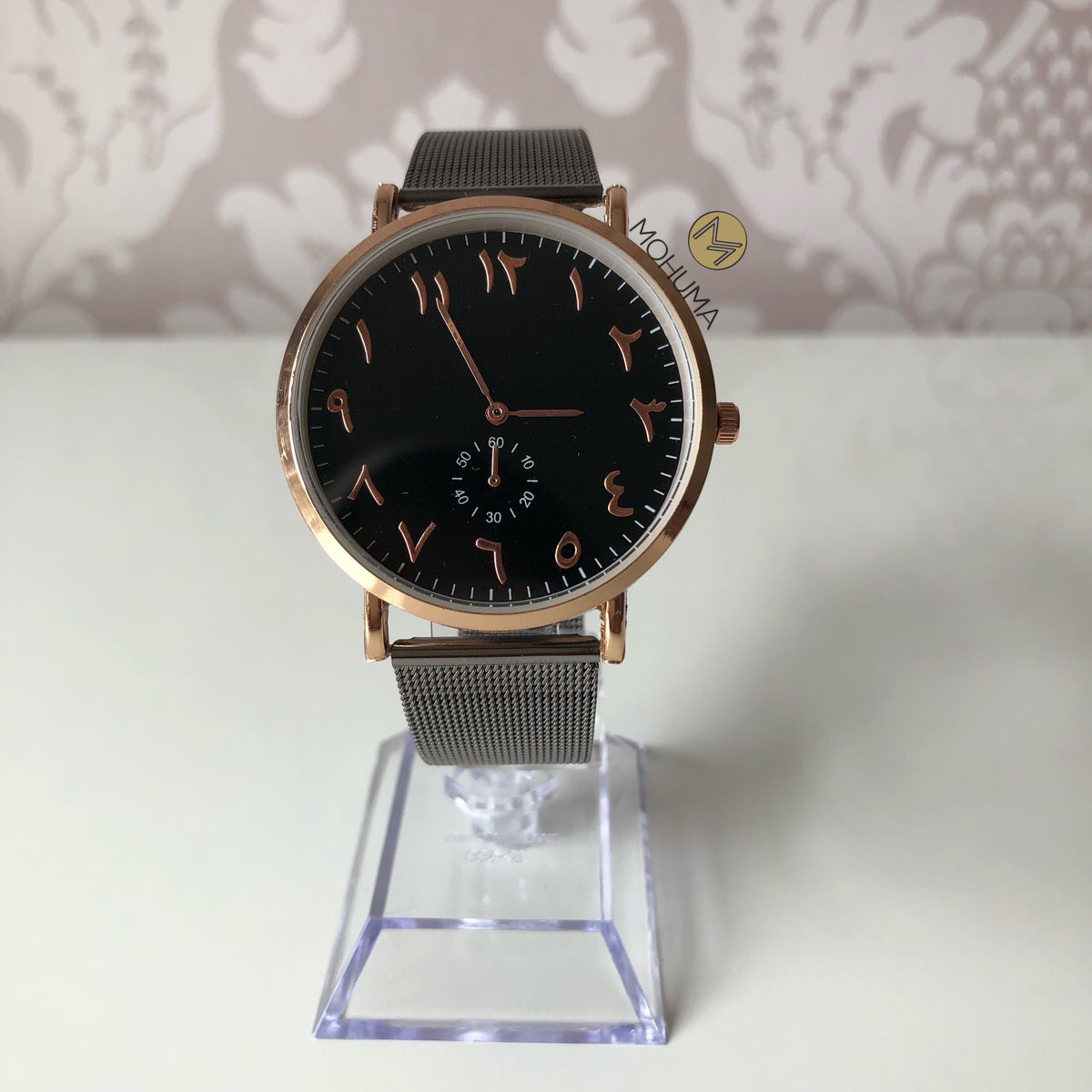 Arabic Numeral Mesh Watch | Black - Mohuma Modesty House