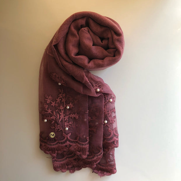 Luxurious Pearl Lace Hijab | Berry - Mohuma Modesty House