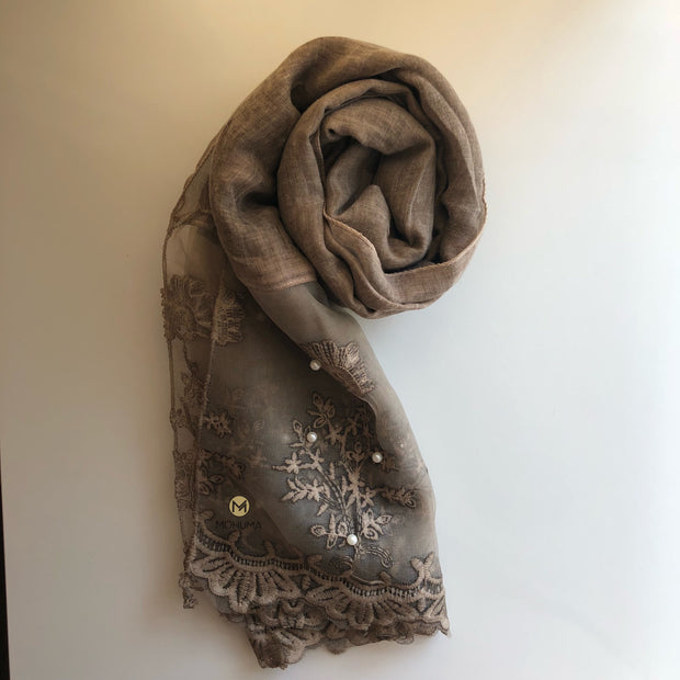 Luxurious Pearl Lace Hijab | Sand - Mohuma Modesty House